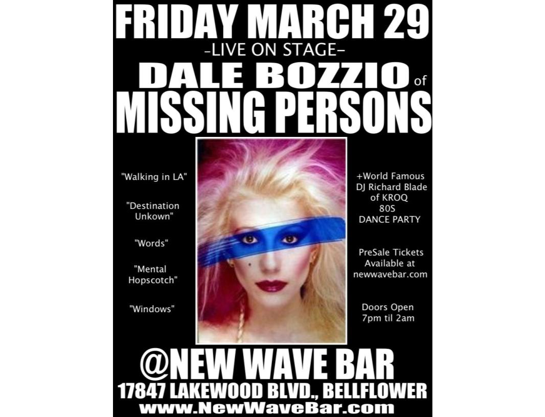Dale Bozzio Of Missing Persons Tickets The New Wave Bar On March