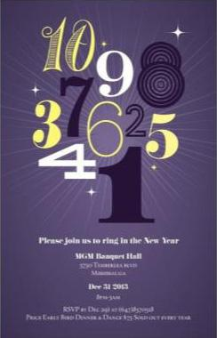 NEW YEAR�S EVE GALA DINNER & DANCE at Mgm Banquet and Conference Centre