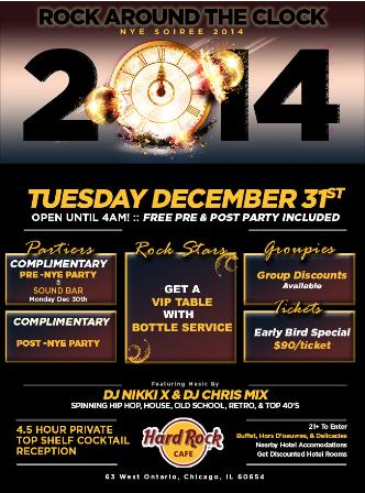 NYE 2014 - Rock Around The Clock at Hard Rock Cafe - Party until 4am