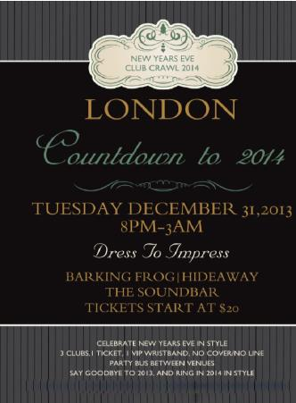 NYE Club Crawl 2014 London