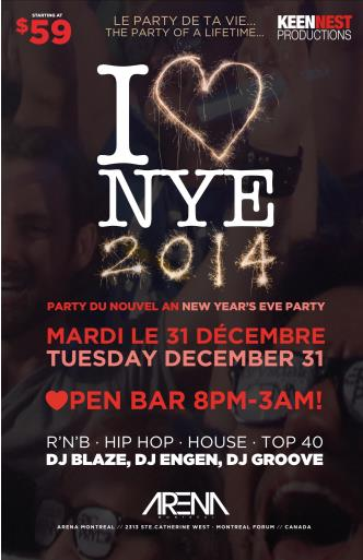 I LOVE NYE 2014 -VIP TREATMENT