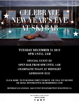 New Year's Eve 2014 at Skybar