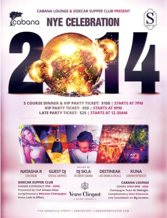 NYE 2014 Celebration @ Cabana