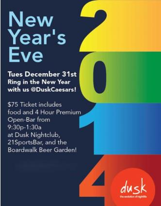 New Years Eve 2014 w a 4hour open bar