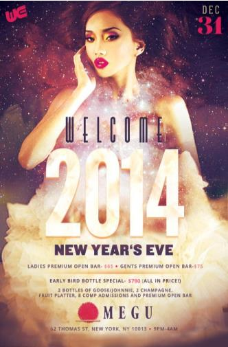 NYE WITH 5 HOUR OPEN BAR@MEGU