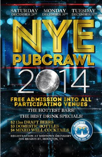 Dec 30 Houston PubCrawl NYE