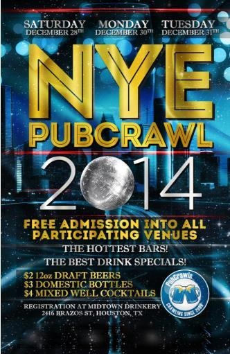 Dec 31 Houston PubCrawl NYE