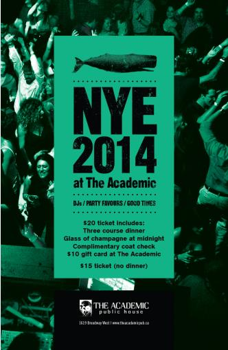 NYE @ the Academic- Sold out