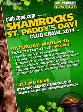 Montreal St Paddy's Club Crawl
