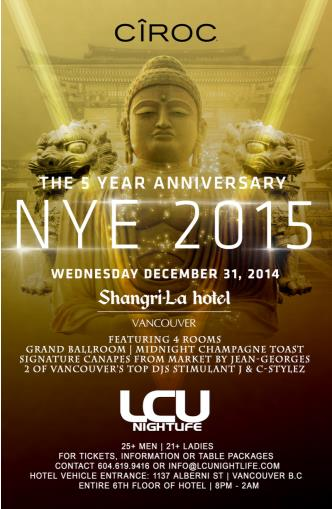 The Shangri-la NYE Gala 2015