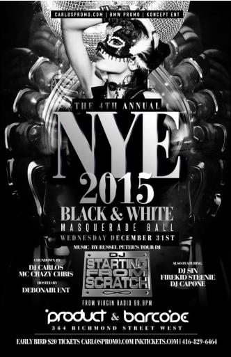 NYE 2015 Black & White Masqua