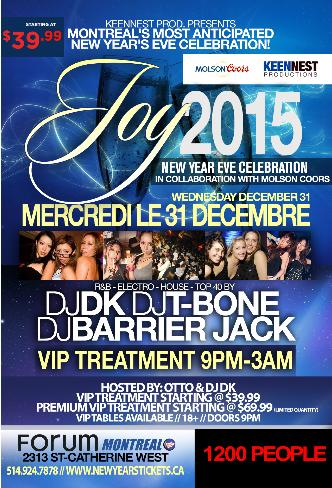 JOY NYE 2015 @ FORUM MONTREAL