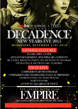 Decadence  New Years Eve 2015