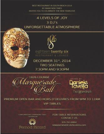 Masquerade Ball at 1826 Lounge